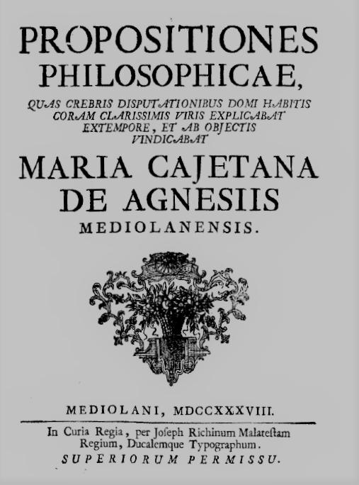 M.G. Agnesi._Propositiones Philosophicae